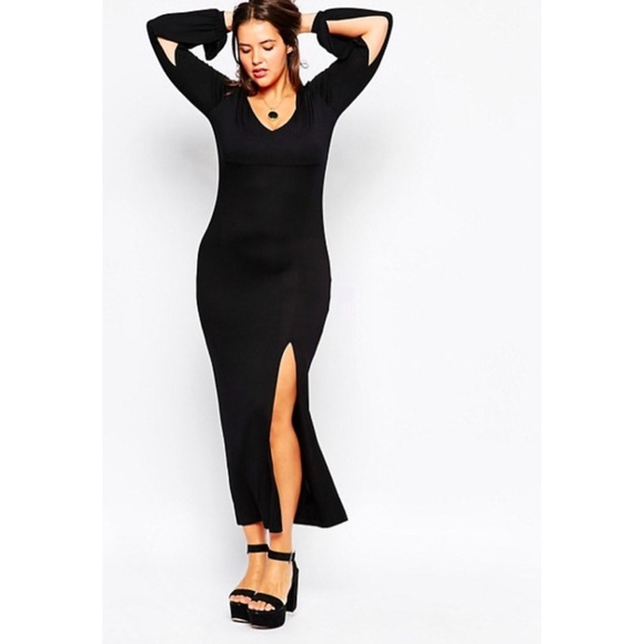 54ae3461fe2 NWT Elvira-licious Black Maxi dress w Thigh Slit